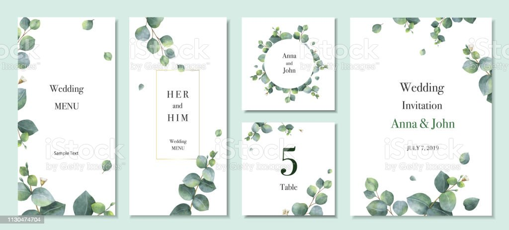 Watercolor vector set wedding invitation card template design with green eucalyptus leaves. - arte vettoriale royalty-free di Acquerello