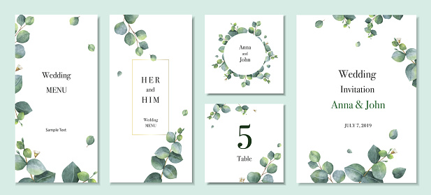 Watercolor vector set wedding invitation card template design with green eucalyptus leaves. clipart