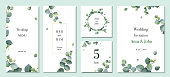 Watercolor vector set wedding invitation card template design with green eucalyptus leaves. Illustration for cards, save the date, greeting design, floral invite, menu .