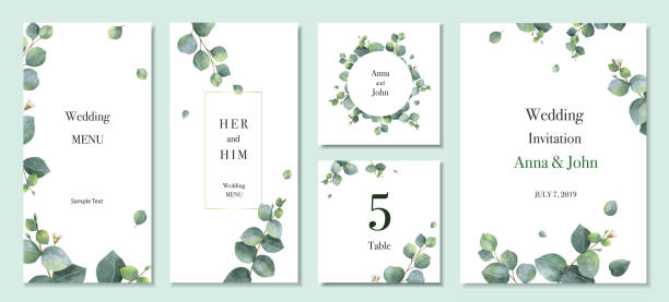Watercolor vector set wedding invitation card template design with green eucalyptus leaves. Watercolor vector set wedding invitation card template design with green eucalyptus leaves. Illustration for cards, save the date, greeting design, floral invite, menu . lush foliage stock illustrations