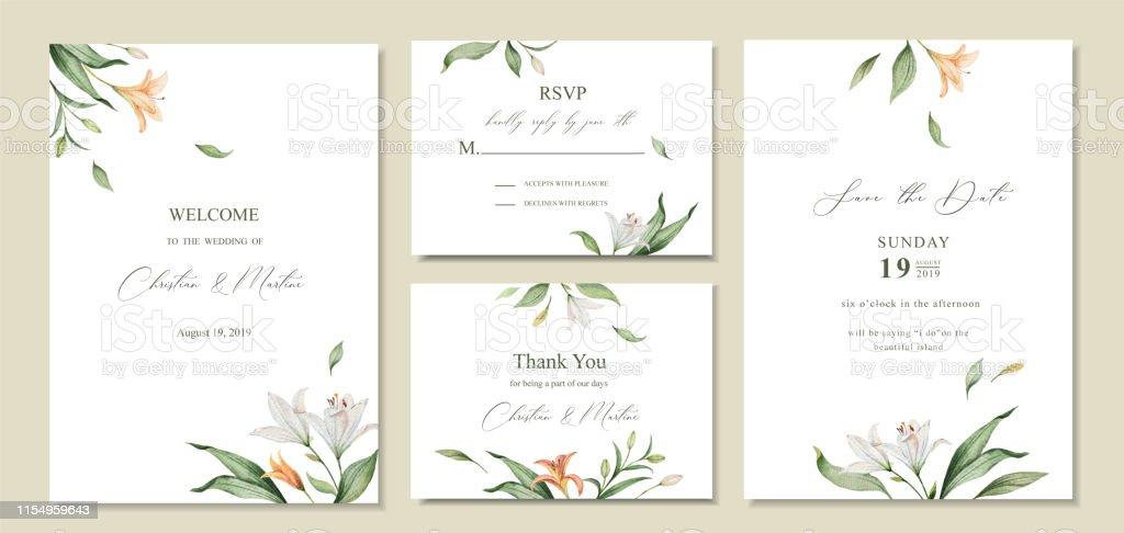watercolor vector set wedding invitation card template