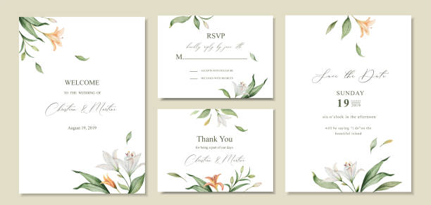 Watercolor vector set wedding invitation card template design with green leaves and flowers. Watercolor vector set wedding invitation card template design with green leaves and flowers. Illustration for cards, save the date, greeting design, floral invite. lily stock illustrations