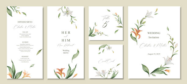 Watercolor vector set wedding invitation card template design with green leaves and flowers. Watercolor vector set wedding invitation card template design with green leaves and flowers. Illustration for cards, save the date, greeting design, floral invite, menu . temperate flower stock illustrations