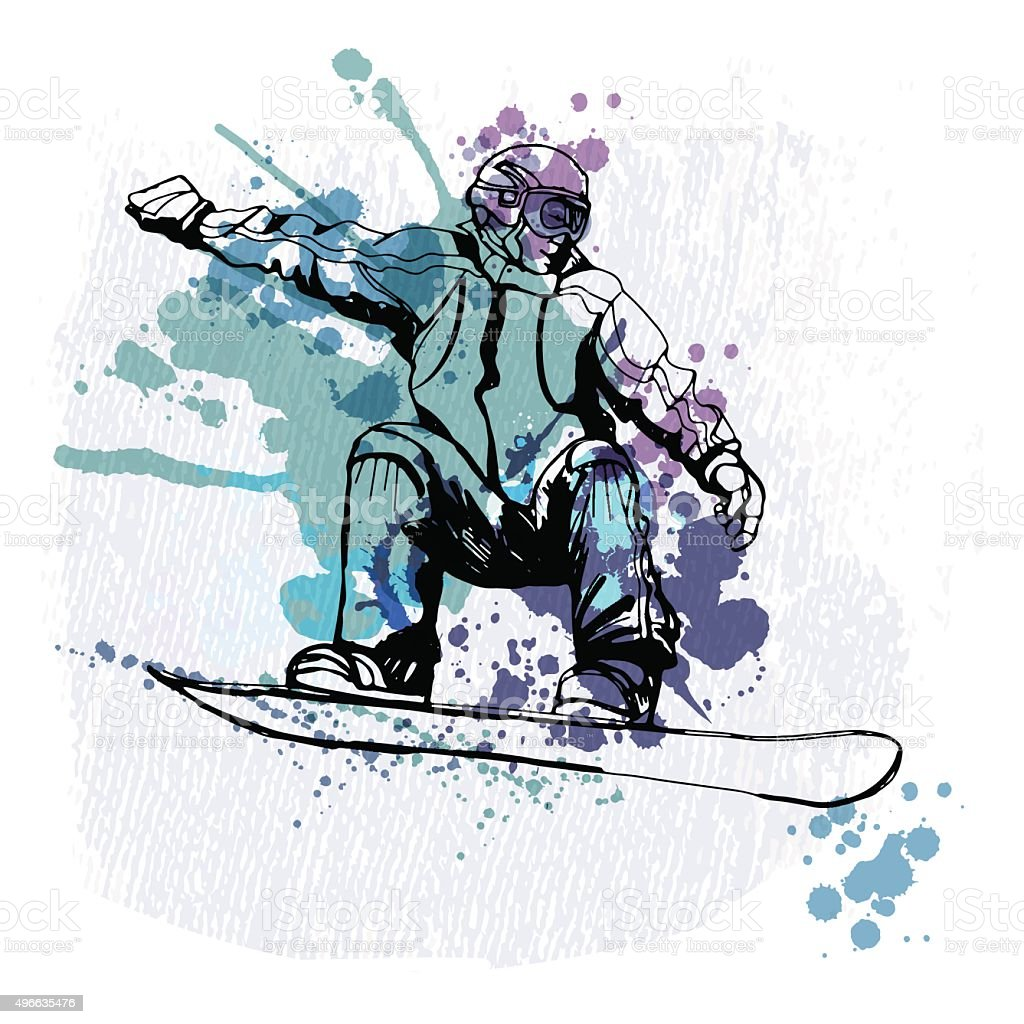 watercolor vector snowboarding man vector art illustration