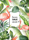 Watercolor vector summer sale banner of tropical leaves and the pink Flamingo isolated on white background. Illustration for design wedding invitations, greeting cards, decor.
