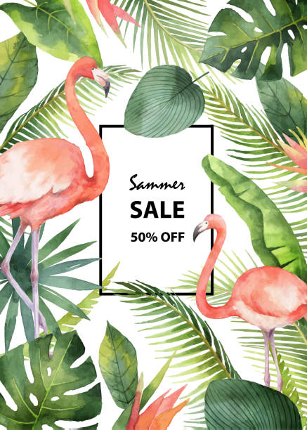 watercolor vector summer sale banner of tropical leaves and the pink flamingo isolated on white background. - flamingo stock illustrations
