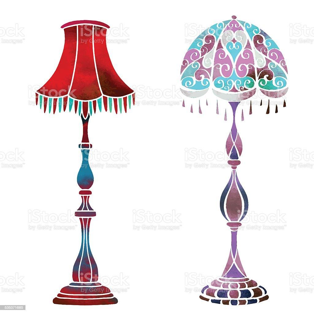 Watercolor Vector Vintage Floor Lamps Set Stock Vector Art