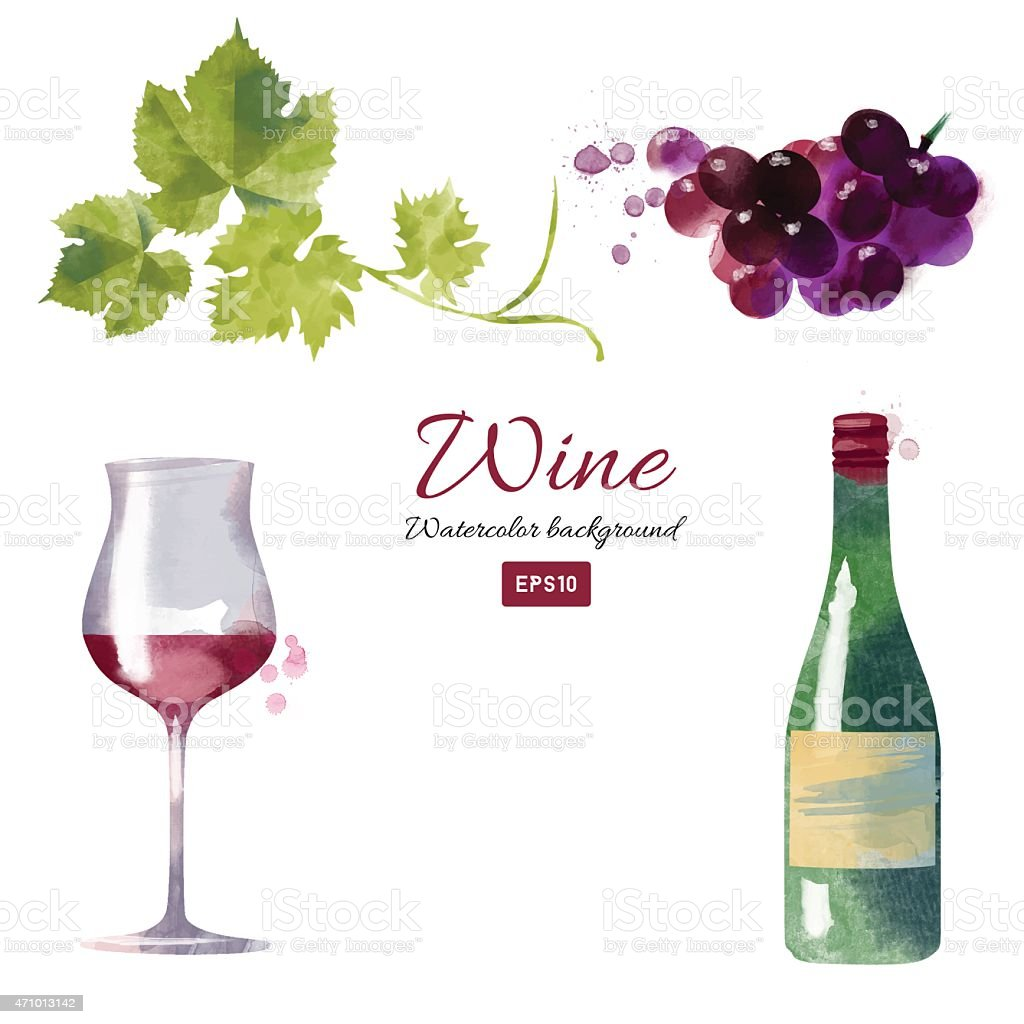 Watercolor vector wine and grapes set vector art illustration