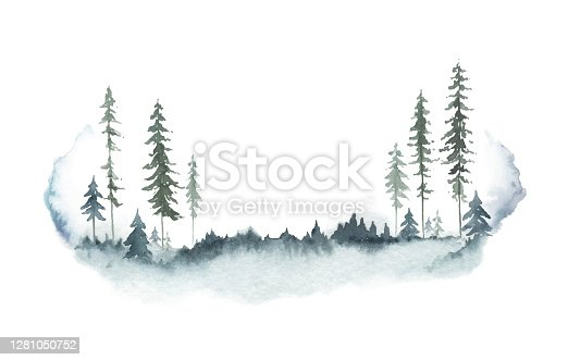 istock Watercolor vector winter forest landscape with fir trees. Hand painted illustration for greeting floral postcard and invitations isolated on white background. 1281050752