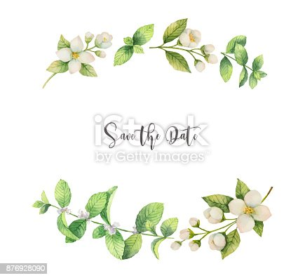 Watercolor Vector Wreath Of Flowers Jasmine And Mint