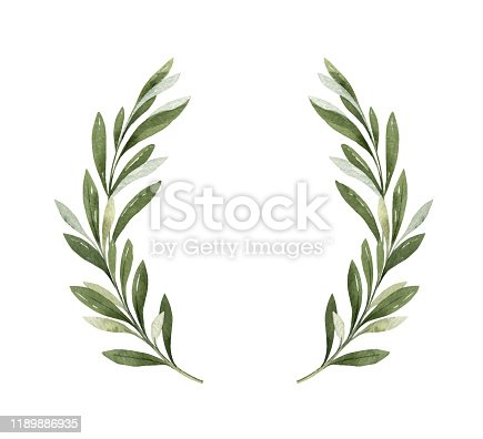 istock Watercolor vector wreath of olive branches and berries. 1189886935