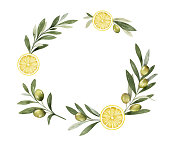 Watercolor vector wreath of olive branches and lemon. Hand drawn illustration for cooking magazines, kitchen decor, greetings, fashion and invitations.