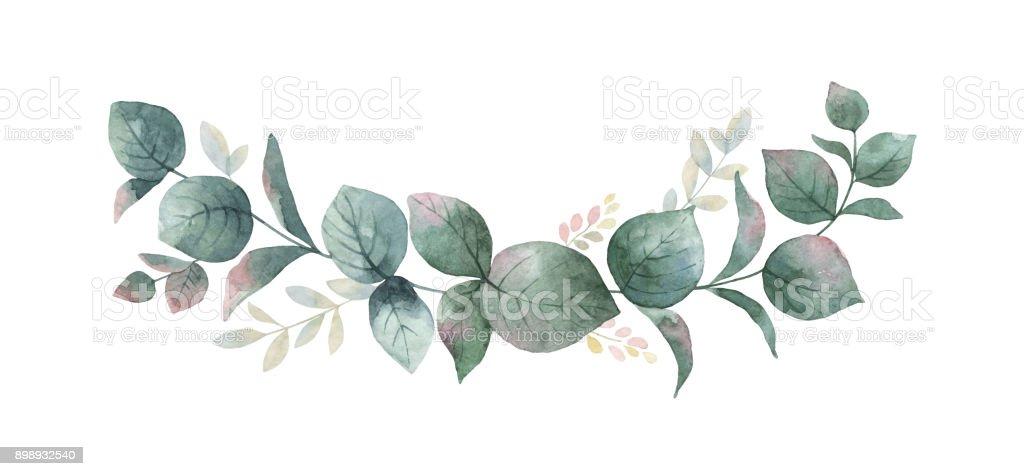 Couronne de vecteur Aquarelle avec vert eucalyptus feuilles et les branches. couronne de vecteur aquarelle avec vert eucalyptus feuilles et les branches vecteurs libres de droits et plus d'images vectorielles de aquarelle libre de droits