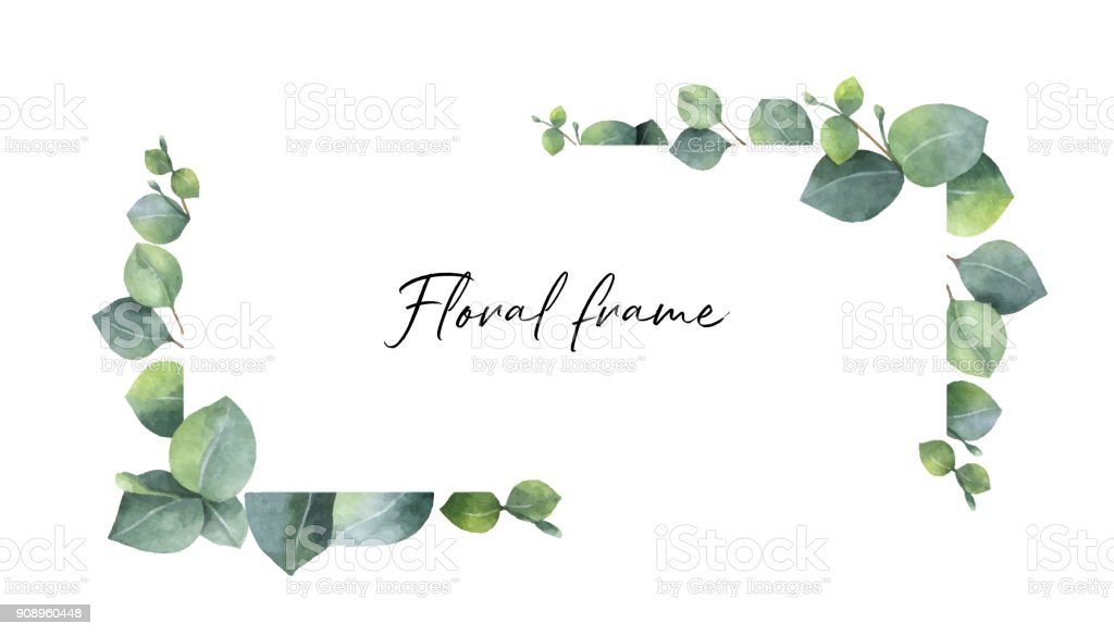 Watercolor vector wreath with green eucalyptus leaves and branches. royalty-free watercolor vector wreath with green eucalyptus leaves and branches stock illustration - download image now