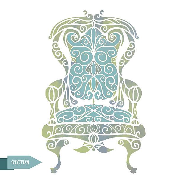 aquarell vintage sessel, throne - stuhllehnen stock-grafiken, -clipart, -cartoons und -symbole