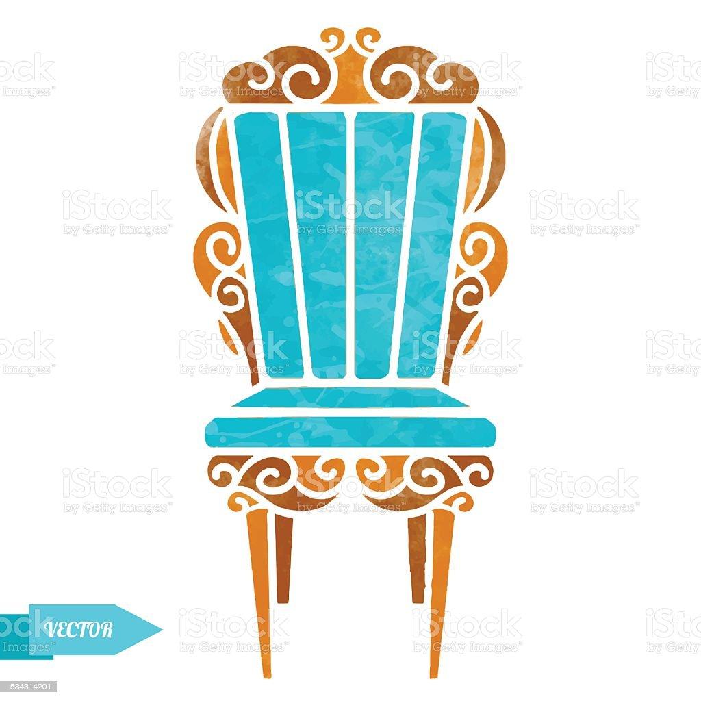 Watercolor vintage chair vector art illustration