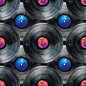 Watercolor vinyl records seamless pattern