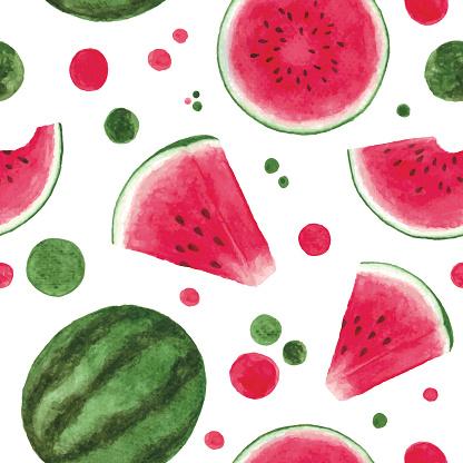 Watercolor watermelon seamless pattern