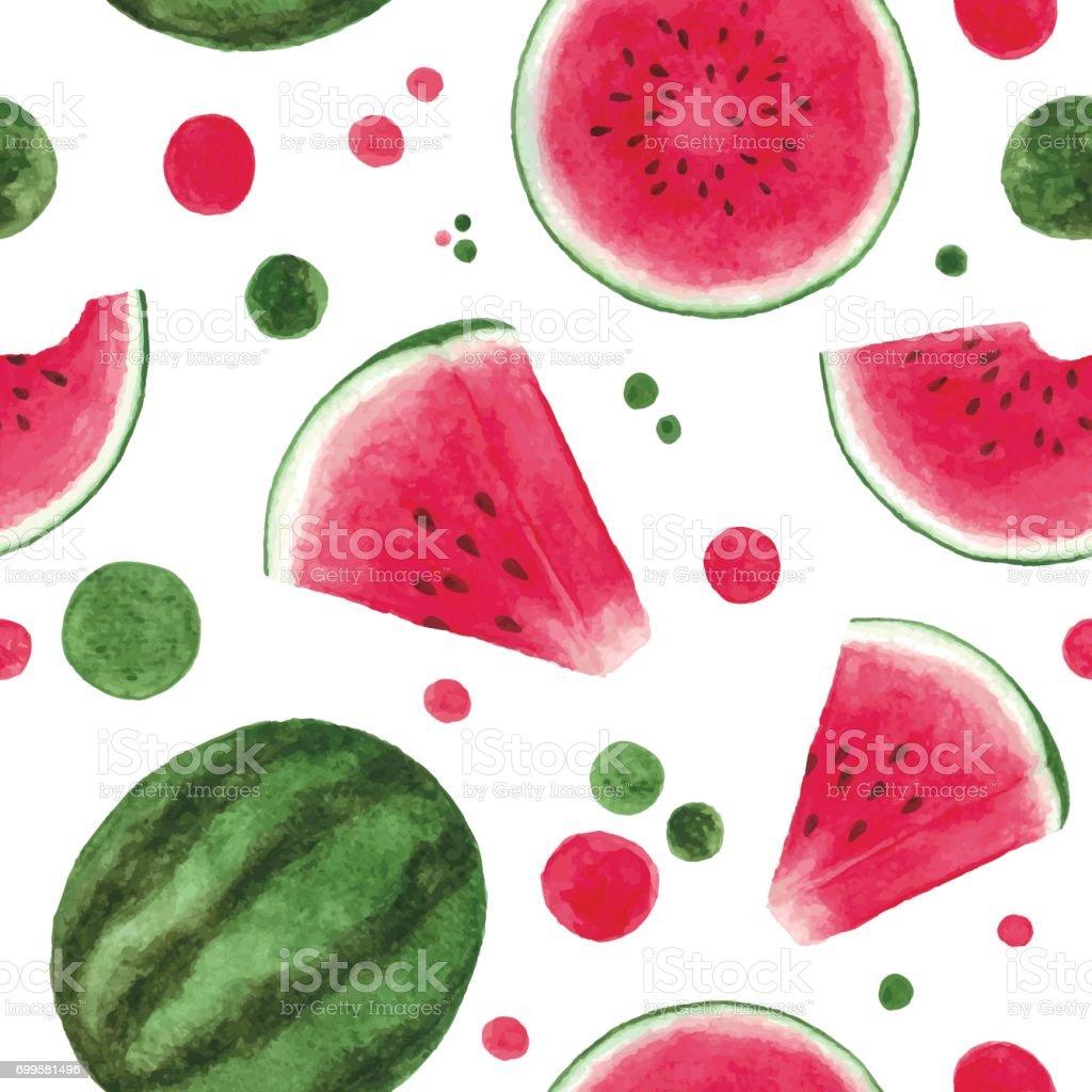 Watercolor watermelon seamless pattern - illustrazione arte vettoriale