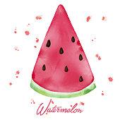 Watercolor Watermelon Slice. Watercolor Hand Drawn Slice of Watermelon with Watercolor Drops. Summer Background Concept.
