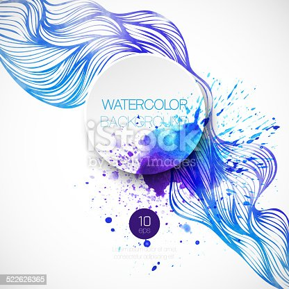 605740894 istock photo Watercolor wave background. Vector illustration 522626365
