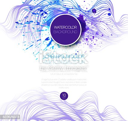 istock Watercolor wave background. Vector illustration 522626373