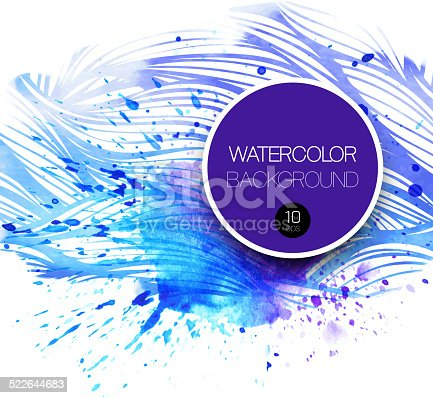 605740894 istock photo Watercolor wave background. Vector illustration 522644683