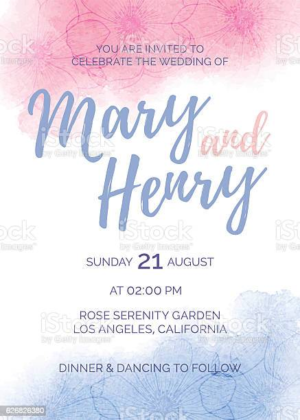Watercolor wedding invitation of color 2016 rose quartz and serenity vector id626826380?b=1&k=6&m=626826380&s=612x612&h=z5ioktoer wvpxfadk yv1o0xwnrxgywxderiih5h4k=