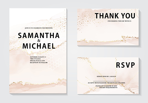 Watercolor wedding invitation set, elegant gold foil rustic design. Bridal shower template. Bohemian anniversary greeting, holiday season graphics.  Party invite, custom cards, rsvp responce card