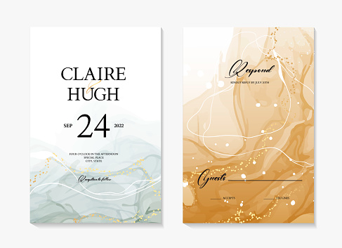 Watercolor wedding invite card, abstract acrylic painting  rustic save the date template. Blue ink with gold frame  modern poster, rsvp invitation, holiday greeting in vector