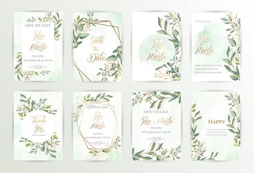 Watercolor wedding set. eps10