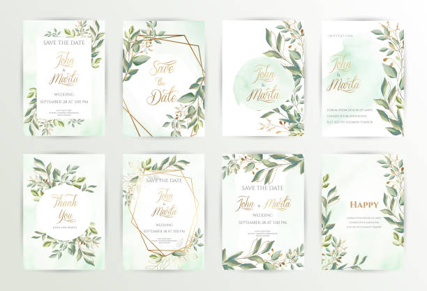 Watercolor wedding set. eps10 Watercolor wedding set. Set of card with leaves and golden geometric frame. Design with forest green leaves, eucalyptus, fern. Floral Trendy templates for banner, flyer, poster, greeting. eps10 lush foliage stock illustrations