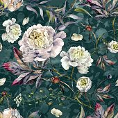 Watercolor Elegant Seamless Pattern made of White Peonies, Meadow Plants and Foliage. Botanical Illustration. Vintage Style Decoration Isolated on Grey Stripped background.