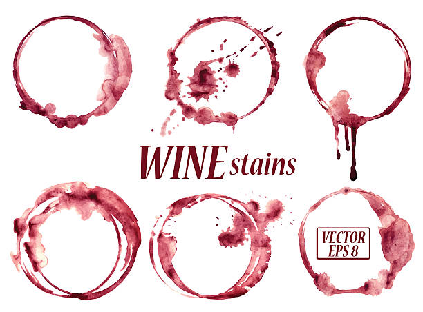 Watercolor wine stains icons Isolated vector watercolor spilled wine glasses stains icons wine stock illustrations