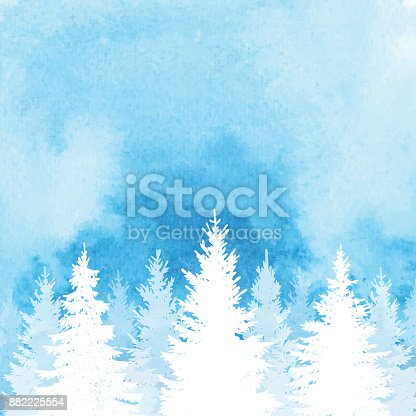 istock Watercolor Winter Forest Background 882225554