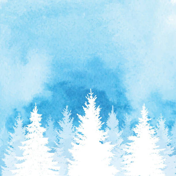 watercolor winter forest background - blue silhouettes stock illustrations
