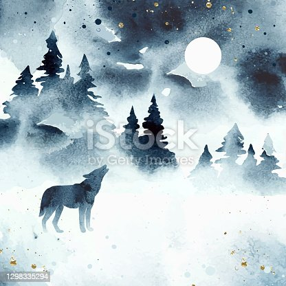 istock Watercolor winter magic vector landscape isolated on white dackground. Vector silhouette of wolf howling at the full moon. Forest and animal under night sky. 1298335294