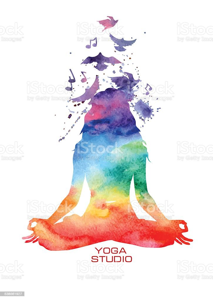 Watercolor woman silhouette of lotus yoga pose Vector rainbow watercolor label with woman silhouette of lotus yoga pose 2015 stock vector