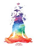 Watercolor woman silhouette of lotus yoga pose