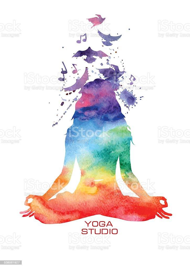Watercolor woman silhouette of lotus yoga pose vector art illustration
