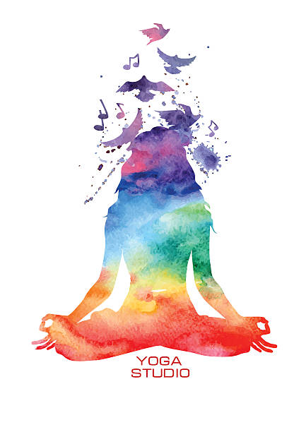 watercolor woman silhouette of lotus yoga pose - yoga stock illustrations, clip art, cartoons, & icons