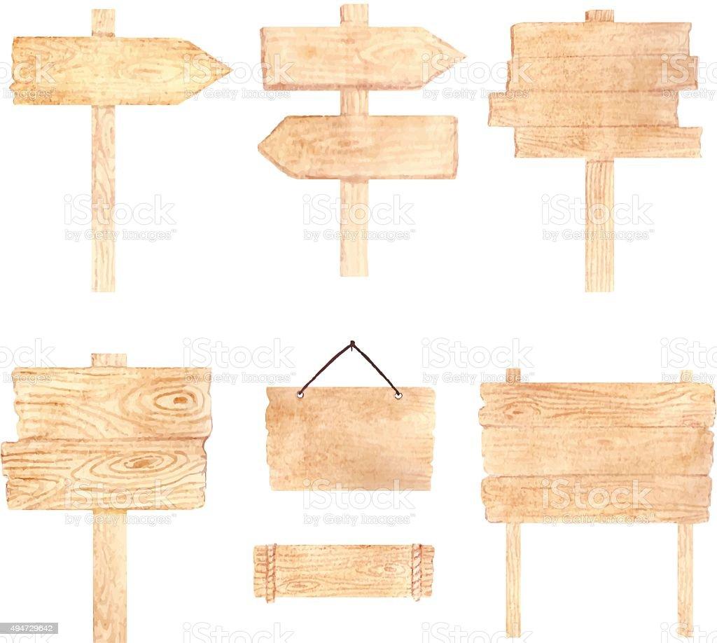 Aquarelle panneau en bois planches et flèches set. - Illustration vectorielle