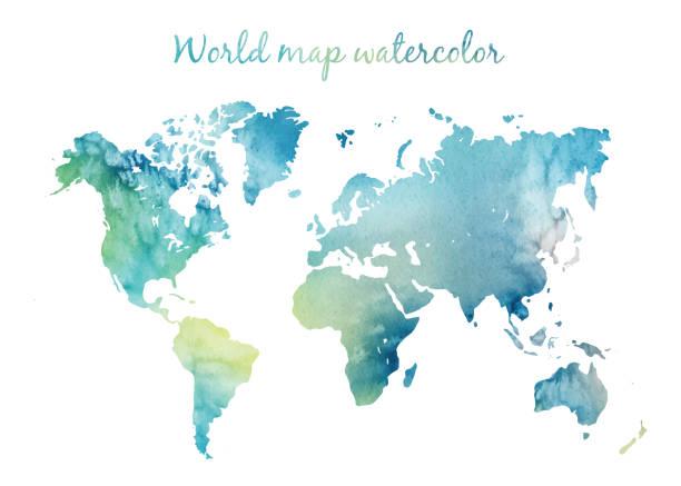 illustrazioni stock, clip art, cartoni animati e icone di tendenza di watercolor world map in vector on wight background. illustration in vector - world