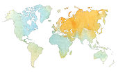 abstract soft watercolor world map backdrop