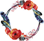 Watercolor wreath with feathers in boho style. Isolated on white background.