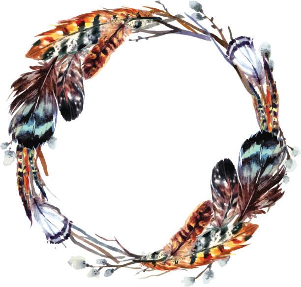 watercolor wreath in boho style. - bohemian fashion stock illustrations, clip art, cartoons, & icons
