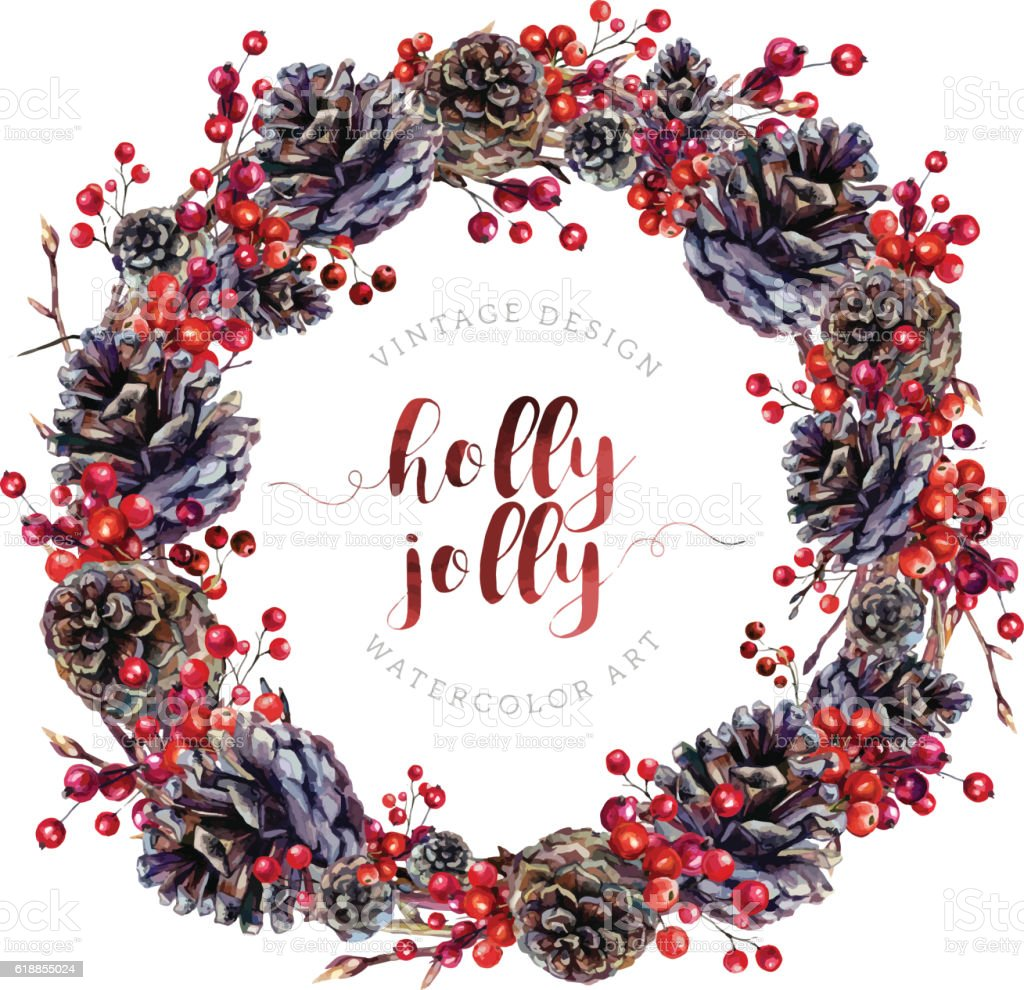 Watercolor wreath made of pine cones and berries. - ilustración de arte vectorial