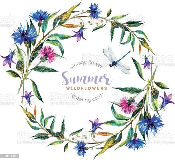Watercolor wreath made of wildflowers vector id618206810?b=1&k=6&m=618206810&s=612x612&h=rbill76vzsrplnbigx or7xonnme5u rsasmuovmyjw=