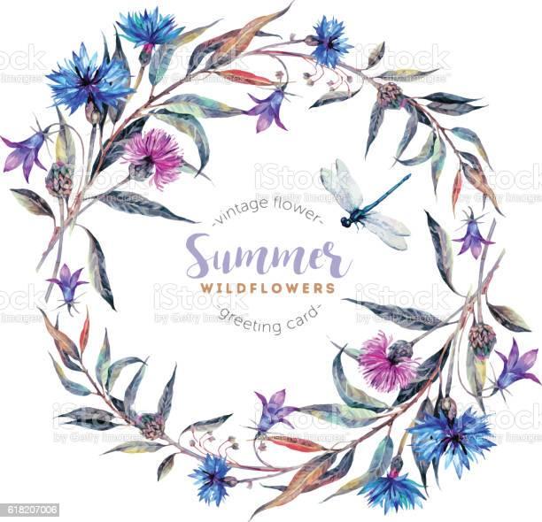 Watercolor wreath made of wildflowers vector id618207006?b=1&k=6&m=618207006&s=612x612&h=vxyvhgbsif79hvmwm4hbmhbbpt7jrk2mqi t431ubi0=