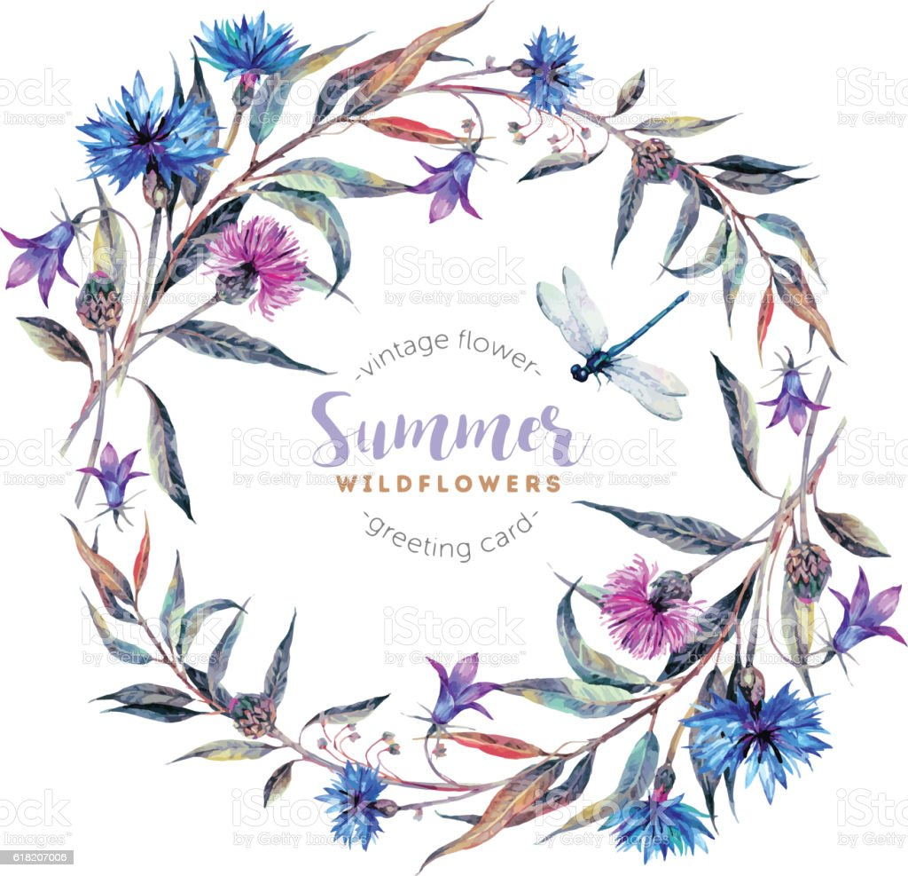 Watercolor wreath made of wildflowers. - ilustración de arte vectorial